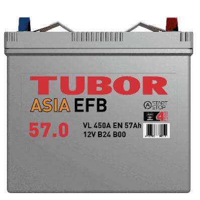 Аккумулятор TUBOR ASIA EFB 6СТ-57.0 VL B00